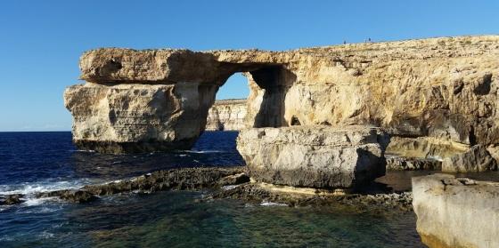 Ventana Azul, Gozo (Malta) antes de derrumbarse por el temporal (septiembre de 2015)