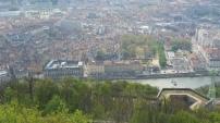 Centro histórico de Grenoble, con el río Isère, desde La Bastilla