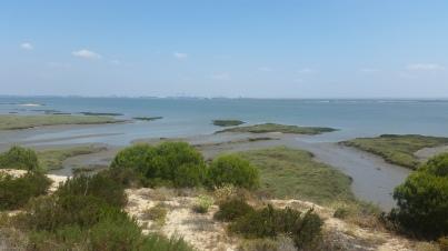 Estuario del río Sado desde la península de Tróia