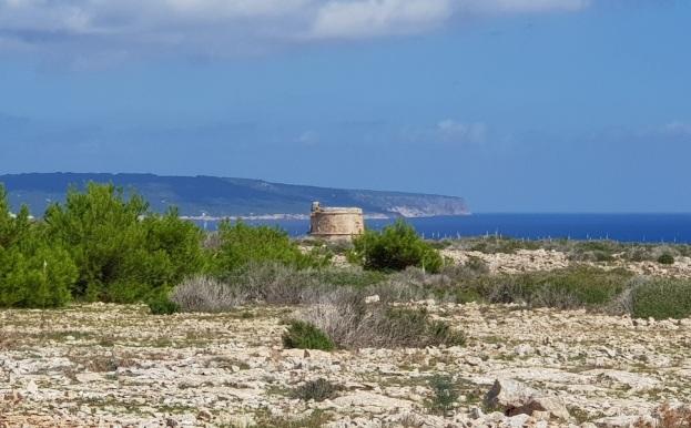 Torre en el Parque Arqueológico de Cabo Barbaria