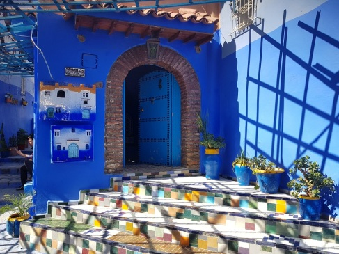 Una casa azul en Chefchaouen, Marruecos