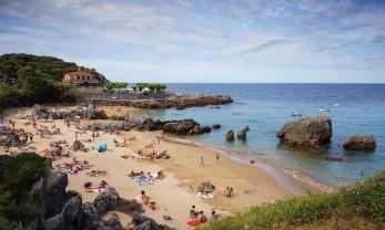 Playa de Arnadal o de los Franceses, Isla, con marea media